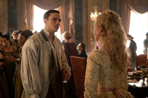 "The Great -- ""A Pox on Hope"" - Episode 107 -- Catherine feels optimistic about peaceful coexistence with Peter and their increasing chemistry. When smallpox breaks out in the servant's quarters, however, Peter reverts to his old ways. Meanwhile, Leo and Catherine's relationship suffers and Georgina misses Peter. Peter (Nicholas Hoult) and Catherine (Elle Fanning), shown. (Photo by: Ollie Upton/Hulu)"