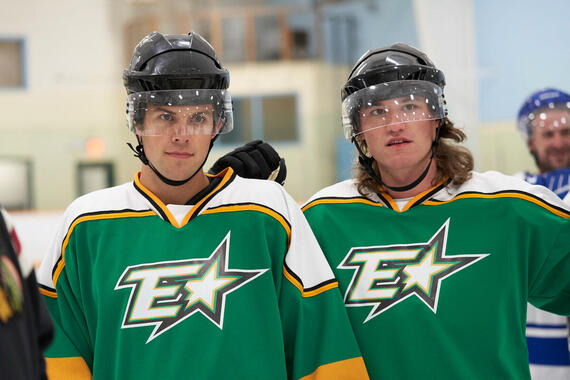 "Letterkenny - ""National Senior Hockey Championship"" -- Episode 802 -- The Hicks continue to be there for their friend. The Hockey Players play Quebec. Stewart learns how to fight. Jones (Andrew Herr) and Reilly (Dylan Playfair), shown. (Photo by Hulu)"