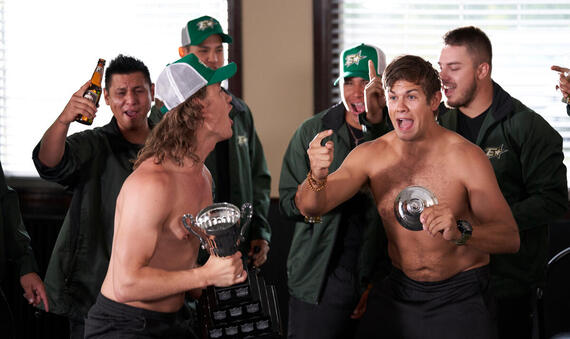 """Letterkenny - """"The Rippers """" -- Episode 803 -- Wayne's American cousint' plans a road trip south of the border. Reilly (Dylan Playfair) and Jonesy (Andrew Herr), shown. (Photo by Hulu) ."""