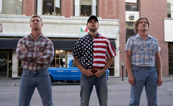 """Letterkenny - """"Rippers"""" -- Episode 803 -- Wayne's American cousint' plans a road trip south of the border. Wayne (Jared Kesso) from left, Jake (Jared Abrahamson) and Daryl (Nathan Dales), shown. (Photo by Hulu)"""