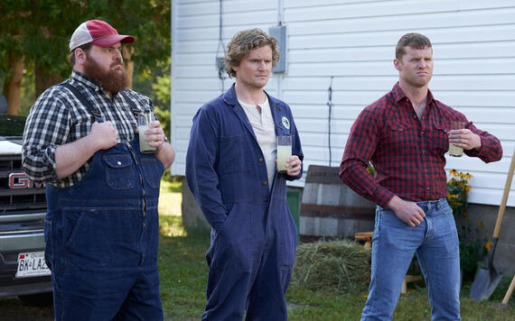 """Letterkenny - """"Holy Sheet"""" -- Episode 806 -- The Hicks help the Mennonites with some choring. Dan (K. Trevor Wilson) from left, Daryl (Nathan Wales) Wayne (Jared Kesso), shown. (Photo by Hulu)"""