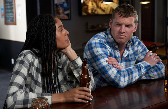 """Letterkenny - """"Holy Sheet"""" -- Episode 806 -- The Hicks help the Mennonites with some choring. Rosie (Clark Backo) and Wayne (Jared Kesso), shown. (Photo by Hulu)"""