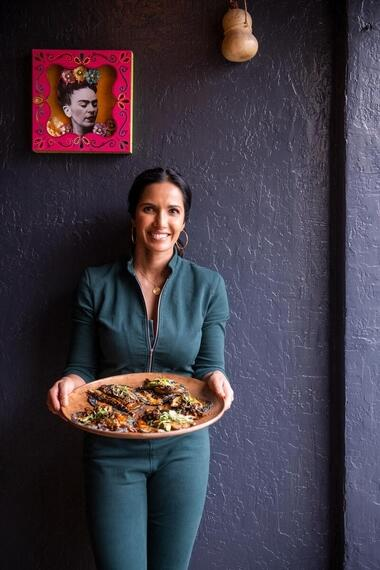 "TASTE THE NATION -- ""Burritos at the Border"" -- Episode 101 -- El Paso was once part of Mexico. Its border location defines the region?s identity and the complexity of America?s political landscape. Padma eats her way through this border city while discovering the origins of one of America?s most beloved cuisines. Padma Lakshmi, shown. (Photo by: Dominic Valente/Hulu)"
