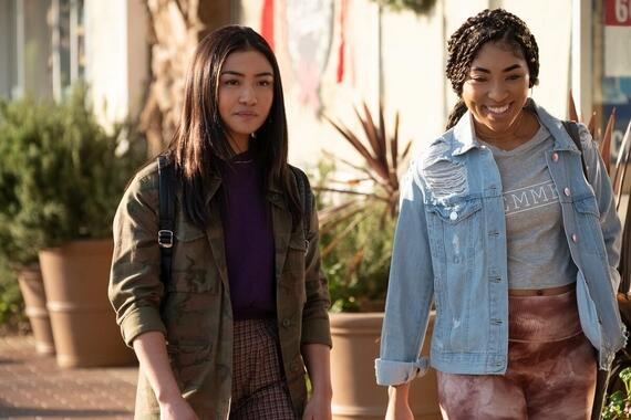 "Light as a Feather -- ""...Free as a Bird"" - Episode 202 -- McKenna and Alex start their court-ordered community service. Violet gives McKenna advice. Alex (Brianne Tju) and Peri (Adriyan Rae), shown. (Photo by: Alex Lombardi/Hulu)"