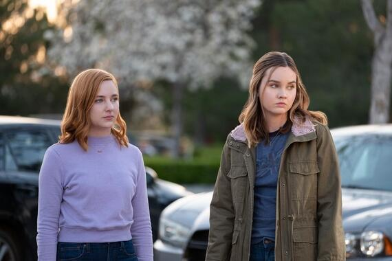 "Light as a Feather -- ""...Free as a Bird"" - Episode 202 -- McKenna and Alex start their court-ordered community service. Violet gives McKenna advice. Violet (Haley Ramm) and McKenna (Liana Liberato), shown. (Photo by: Alex Lombardi/Hulu)"