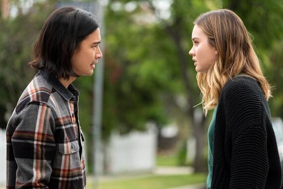 "Light as a Feather -- ""...Silent as the Night"" - Episode 205 -- McKenna has an unfortunate run-in. Violet and Alex try to find out more about the Light As A Feather game. Trey (Jordan Rodrigues) and McKenna (Liana Liberato), shown. (Photo by: Alex Lombardi/Hulu)"