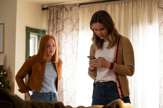 "Light as a Feather -- ""...Pale as Death"" - Episode 206 -- The girls make a discovery that could lead them to the origins of the game. Isaac and Violet get closer. Violet (Haley Ramm) and McKenna (Liana Liberato), shown. (Photo by: Alex Lombardi/Hulu)"