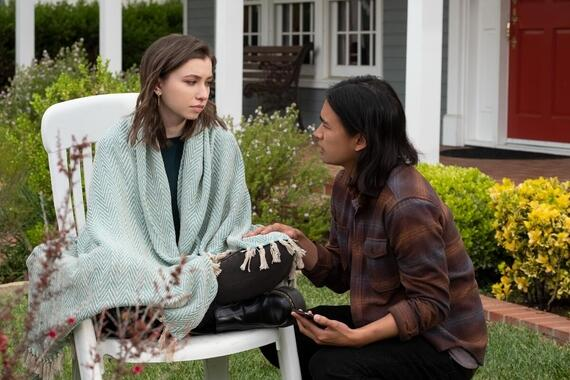 "Light as a Feather -- ""...White as a Ghost"" - Episode 208 --The girls have a new lead that could fix all their problems -- but to see it through, they will have to risk it all. Sammi (Katelyn Nacon) and Trey (Jordan Rodrigues), shown. (Photo by: Alex Lombardi/Hulu)"