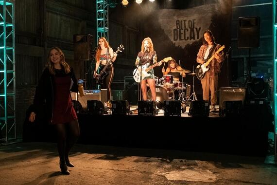 "Light as a Feather -- ""...Fresh as a Daisy"" - Episode 209 - It's New Year's Eve as the girls anxiously celebrate their return to normal. Trey and Sammi's band, Bit of Decay, play their biggest show yet. McKenna (Liana Liberato), Sammi (Katelyn Nacon), and Trey (Jordan Rodrigues), shown. (Photo by: Alex Lombardi/Hulu)"