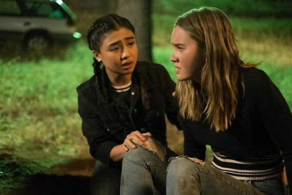 "Light As A Feather -- ""...Trapped as a Rat"" - Episode 210 -- Violet encounters an old friend in the most unlikely of places. McKenna tries to find answers, only to find more trouble. Alex (Brianne Tju) and McKenna (Liana Liberato), shown. (Photo by: Alex Lombardi/Hulu)"