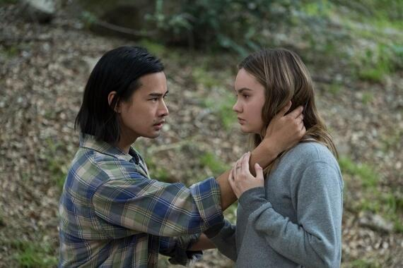 "Light As A Feather -- "".…Thick as Thieves"" - Episode 213 -- As the friends turn to an unlikely source for help, one is forced to confront her greatest fear. Try (Jordan Rodrigues) and McKenna (Liana Liberato), shown. (Photo by: Alex Lombardi/Hulu)"