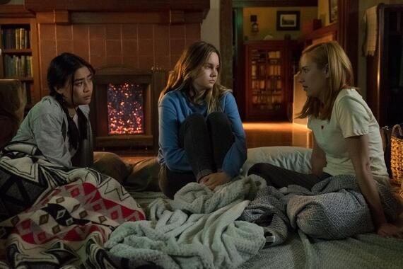 "Light As A Feather -- "".…Thick as Thieves"" - Episode 213 -- As the friends turn to an unlikely source for help, one is forced to confront her greatest fear. Alex (Brianne Tju) from left, McKenna (Liana Liberato) and Violet (Haley Ramm), shown. (Photo by: Alex Lombardi/Hulu)"
