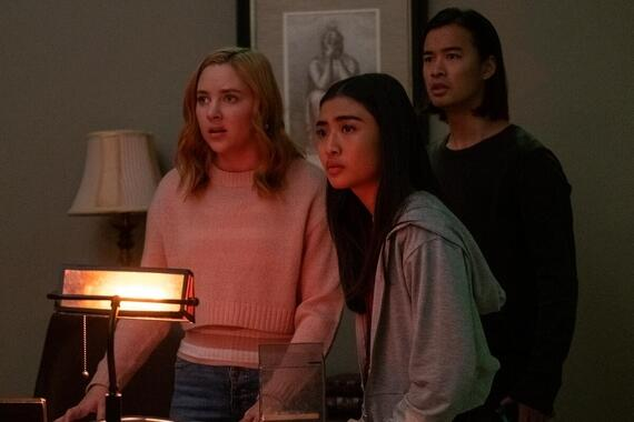 "Light as a Feather -- ""…Mean as a Rattlesnake"" - Episode 214 - As the stakes escalate, the girls find themselves scrambling to piece together clues. Violet (Haley Ramm), Alex (Brianne Tju), and Trey (Jordan Rodrigues), shown. (Photo by: Alex Lombardi/Hulu)"