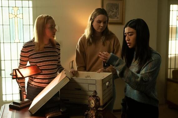 "Light as a Feather -- ""...Quiet as a Tomb"" - Episode 215 - McKenna pressures a friend to deliver on a deadly promise. Violet (Haley Ramm), McKenna (Liana Liberato), and Alex (Brianne Tju), shown. (Photo by: Alex Lombardi/Hulu)"