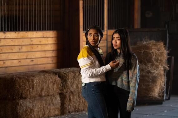 "Light as a Feather -- ""…Brave as a Lion"" - Episode 216 - With the curse closing in, the girls must make a tough decision, and one faces a hard truth that could change everything. Peri (Adriyan Rae) and Alex (Brianne Tju), shown. (Photo by: Alex Lombardi/Hulu)"