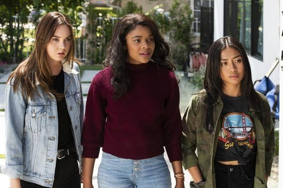 "Light as a Feather -- ""...Dead as a Doornail"" - Episode 103 - Trey reveals surprising new details about the night of Olivia's party. McKenna (Liana Liberato), Candace (Ajiona Alexus) and Alex (Brianne Tju), shown. (Photo by: Rachael Thompson/Hulu)"