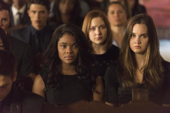 "Light as a Feather -- ""...Dead as a Doornail"" - Episode 103 - Trey reveals surprising new details about the night of Olivia's party. Candace (Ajiona Alexus), Violet (Haley Ramm), and McKenna (Liana Liberato), shown. (Photo by: Rachael Thompson/Hulu)"