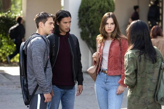 "Light as a Feather -- ""...Right as Rain"" - Episode 107 - A dangerous secret about Violet is revealed. Henry (Dylan Sprayberry), Trey (Jordan Rodrigues) and McKenna (Liana Liberato) shown. (Photo by: Rachael Thompson/Hulu)"