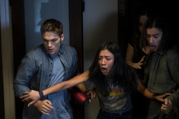 "Light as a Feather -- ""...Cold as Ice"" - Episode 108 - Determined to get answers, McKenna devises a new plan. Henry (Dylan Sprayberry), Alex (Brianne Tju) and Trey (Jordan Rodrigues) shown. (Photo by: Alex Lombardi/Hulu)"