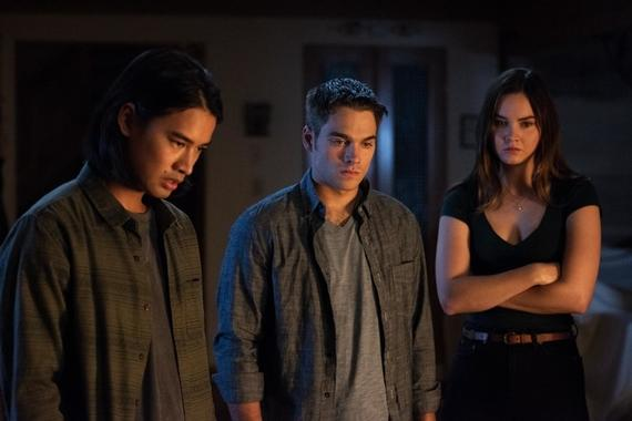 "Light as a Feather -- ""...Cold as Ice"" - Episode 108 - Determined to get answers, McKenna devises a new plan. Trey (Jordan Rodrigues), Henry (Dylan Sprayberry) and McKenna (Liana Liberato) shown. (Photo by: Rachael Thompson/Hulu)"