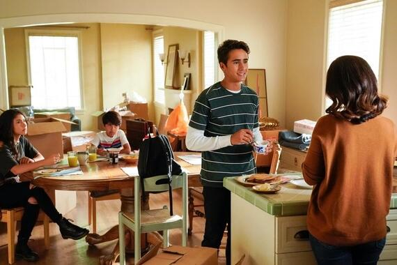 """Love, Victor -- """"Welcome to Creekwood"""" - Episode 101 -- Victor arrives at Creekwood a year after the events of LOVE, SIMON excited to start his new life. Pilar (Isabella Ferreira), Adrian (Mateo Fernandez), Victor (Michael Cimino) and Isabel (Ana Ortiz), shown. (Photo by: Mitchell Haaseth/Hulu)"""