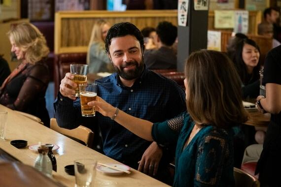 "Love, Victor -- ""Battle of the Bands"" - Episode 103 -- Determined to figure out his feelings, Victor asks Mia out on their first real date. Armando (James Martinez) and Isabel (Ana Ortiz), shown. (Photo by: Gilles Mingasson/Hulu)"