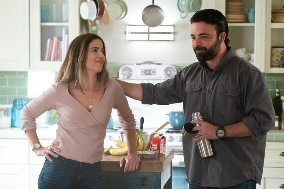 "Love, Victor -- ""Sweet Sixteen"" - Episode 105 -- With tensions high at home, Victor lets his family throw him a birthday party. Isabel (Ana Ortiz) and Armando (James Martinez), shown. (Photo by: Gilles Mingasson/Hulu)"