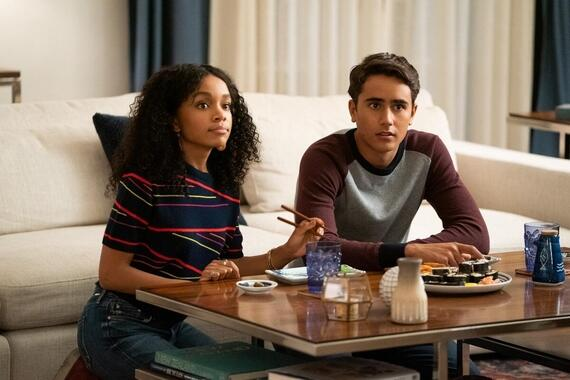 "Love, Victor -- ""Who the Hell is B"" - Episode 109 -- Back in Atlanta, Victor starts to open up to his friends about what he's been feeling. Mia (Rachel Hilson) and Victor (Michael Cimino), shown. (Photo by: Gilles Mingasson/Hulu)"