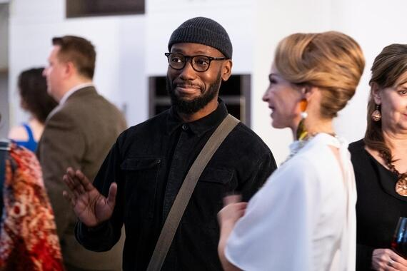 "Woke -- ""Gig E. SmallsÓ - Episode 103 -- Being ÒwokeÓ doesnÕt pay the bills. It also doesnÕt save you from awkward small talk at parties thrown by rich white ladies. Keef (Lamorne Morris), shown. (Photo by: Liane Hentscher/Hulu)"