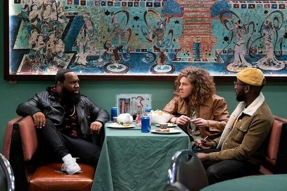 "Woke -- ""Black People For RentÓ - Episode 104 -- Keef channels his creative energy in a provocative new way. Clovis (T. Murph), Gunther (Blake Anderson) and Keef (Lamorne Morris), shown. (Photo by: Liane Hentscher/Hulu)"