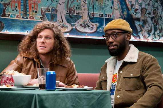 "Woke -- ""Black People For Rent"" - Episode 104 -- Keef channels his creative energy in a provocative new way. Gunther (Blake Anderson) and Keef (Lamorne Morris), shown. (Photo by: Liane Hentscher/Hulu)"