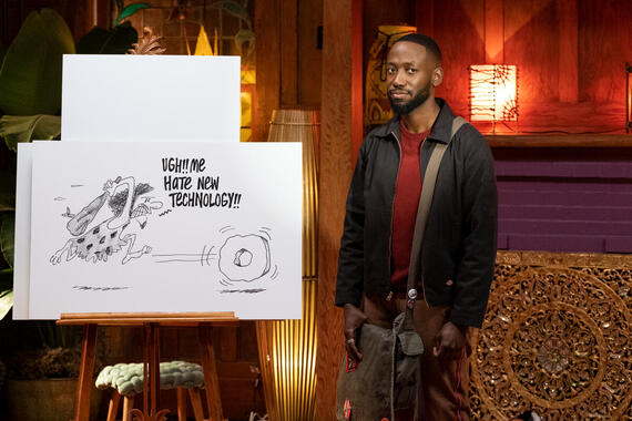 "Woke -- ""Oaktown Get-Down"" - Episode 105 -- Keef and his friends head to an Oakland artists' salon where he hopes to get in the good graces of the East Bay's artistic elite. Keef (Lamorne Morris), shown. (Photo by: Liane Hentscher/Hulu)"