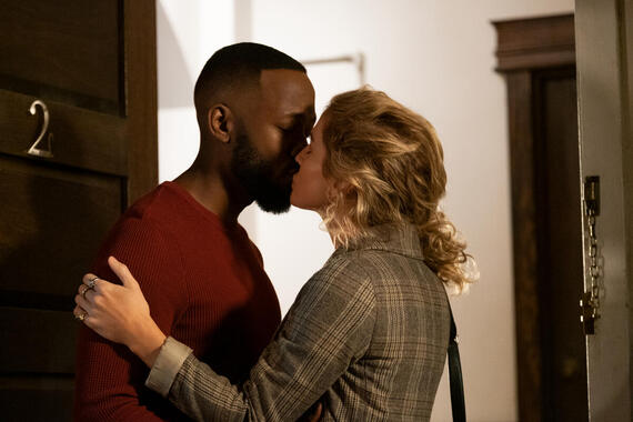 "Woke -- ""Dap, Peace, F*ck You"" - Episode 106 -- After the events at the salon, Keef and Adrienne discuss how to move forward, Clovis helps Ayana get revenge on her ex-girlfriend, and Gunther tests the bounds of his sexual fluidity. Keef (Lamorne Morris) and Adrienne (Rose McIver), shown. (Photo by: Liane Hentscher/Hulu)"