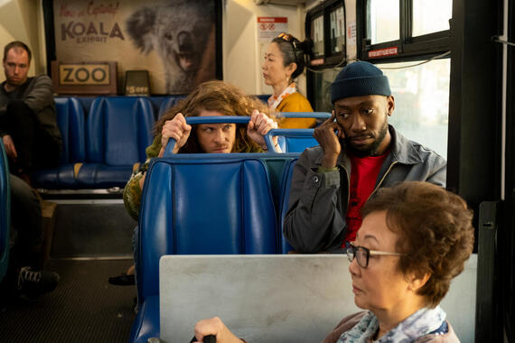 "Woke -- ""Prayers for Kubby"" - Episode 107 -- What should be a quick trip across town instead turns into the bus ride from Hell. Gunther (Blake Anderson) and Keef (Lamorne Morris), shown. (Photo by: Liane Hentscher/Hulu)"