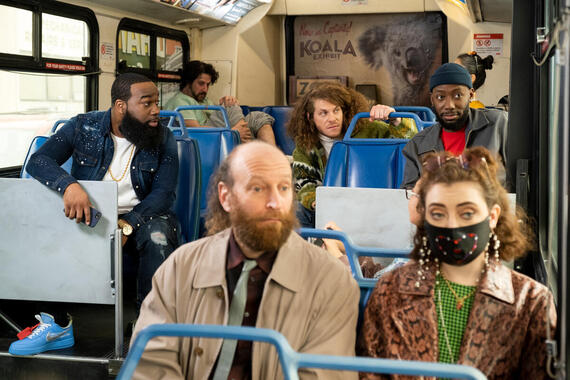 "Woke -- ""Prayers for Kubby"" - Episode 107 -- What should be a quick trip across town instead turns into the bus ride from Hell. Clovis (T. Murph), Gunther (Blake Anderson), and Keef (Lamorne Morris), shown. (Photo by: Liane Hentscher/Hulu)"