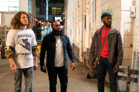 "Woke -- ""Prayers for Kubby"" - Episode 107 -- What should be a quick trip across town instead turns into the bus ride from Hell. Gunther (Blake Anderson), Clovis (T. Murph) and Keef (Lamorne Morris), shown. (Photo by: Liane Hentscher/Hulu)"