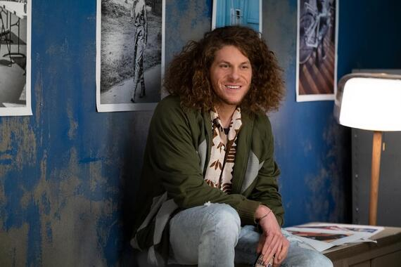 "Woke -- ""Blue Lies Matter"" - Episode 108 -- Months later, Keef thinks he's finally arrived in a better place until he's confronted with an unexpected face from the past. Gunther (Blake Anderson), shown. (Photo by: Liane Hentscher/Hulu)"