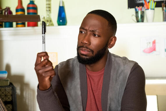 "Woke -- ""Blue Lies Matter"" - Episode 108 -- Months later, Keef thinks he's finally arrived in a better place until he's confronted with an unexpected face from the past. Keef (Lamorne Morris), shown. (Photo by: Liane Hentscher/Hulu)"