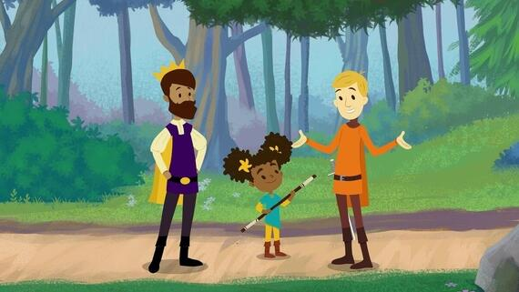"The Bravest Knight -- ""Cedric & the Cave"" -- Nia is taught how to track in the woods as she hears the tale of Cedric and Grunt hiding from a Yeti in a mountainside cave. By being resourceful, they are able to escape the beast and find the secret to its anger. (Photo courtesy of Hulu)"