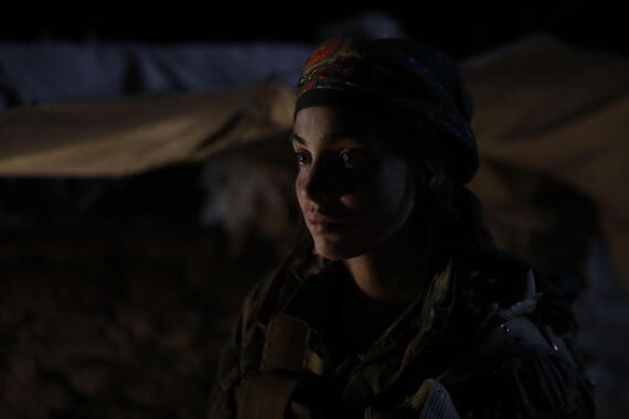 "No Man's Land -- ""Episode 2"" -Episode 102 -- Antoine is interrogated byYPJ officer Sarya, but it's obvious he's not ISIS when one of the volunteers recognizes his picture of Anna, also YPJ. Three British jihadists-Nasser, Iyad and Paul – arrive in the region and help ISIS attack the Kurdish base where Antoine is being held. Antoine decides to continue his search. Sarya (Souheila Yacoub), shown. (Photo by: Sife ELAMINE/Hulu)"