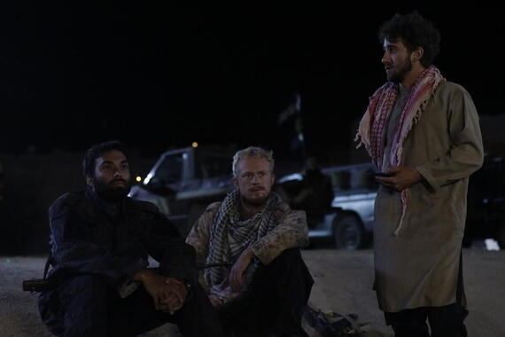 "No Man's Land -- ""Episode 5"" -Episode 105 -- Finally accepting Anna is dead, Antoine decides to leave Syria. Sarya escorts him, and they become close. Nasser is promoted but after witnessing such atrocities, he wants out. When he meets with Stanley to discuss, he learns that he has been working for Israel's Mossad, and not helping his county through the British intelligence services. Nasser (James Krishna Floyd) Paul (Dean Ridge) and Iyad (Jo Ben Ayed), shown. (Photo by: Sife ELAMINE/Hulu)"