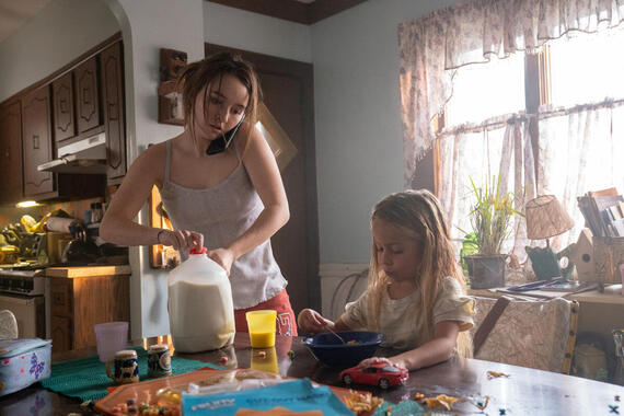 "Monsterland -- ""Port Fourchon, LA"" - Episode 101 -- A down-and-out waitress questions her choices. Toni (Kaitlyn Dever) and Jack (Charlotte Cabell, Vivian Cabell), shown. (Photo by: Barbara Nitke/Hulu)"