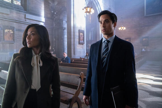 "Monsterland -- ""New York, NY"" -- Episode 104 -- A wealthy CEO suffers for his sins. Kristine (Teresa Avia Lim) and Josh (Michael Hsu Rosen), shown. (Photo by: Barbara Nitke/Hulu)"