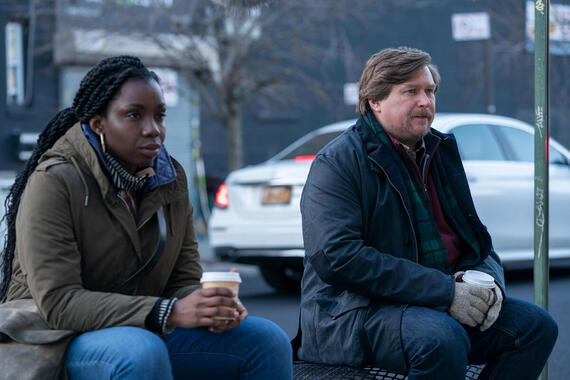 "Monsterland -- ""Newark, NJ"" -- Episode 108 -- A grieving couple struggles to say goodbye. Amy Cooke (Adepero Oduye) and Tommy (Michael Chernus), shown. (Photo by: Barbara Nitke/Hulu)"