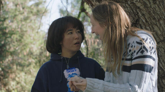 "PEN15 -- ""Vendy Wiccany"" - Episode 203 -- Anna and Maya discover secret powers within, allowing them to control rocky aspects of their lives through magic. Maya Ishii-Peters (Maya Erskine), Anna Kone (Anna Konkle), shown. (Photo by: Courtesy of Hulu)"