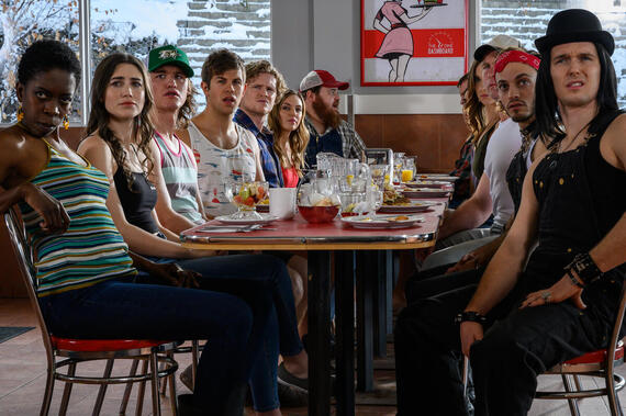 "LetterKenny -- ""American Buck and Doe"" - Episode 901 -- Post fight with Dierks, the hicks, skids and hockey players attend an American Buck and Doe. Gail (Lisa Codrington), Tanis (Kaniehtiio Horn), Reilly (Dylan Playfair), Jonesy (Andrew Herr), Daryl (Nathan Wales), Katy (Michelle Mylett), Mrs. McMurray (Melanie Scrofano), McMurray (Dan Petronijevic), Roald (Evan Stern), Stewart (Tyler Johnston), shown. (Photo By Amanda Matlovich)"