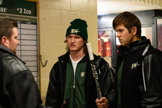 """LetterKenny -- """"Mitsvah"""" - Episode 904 -- The hockey players learn about Judaism. Reilly (Dylan Playfair), Jonesy (Andrew Herr), shown. (Photo By Amanda Matlovich)"""