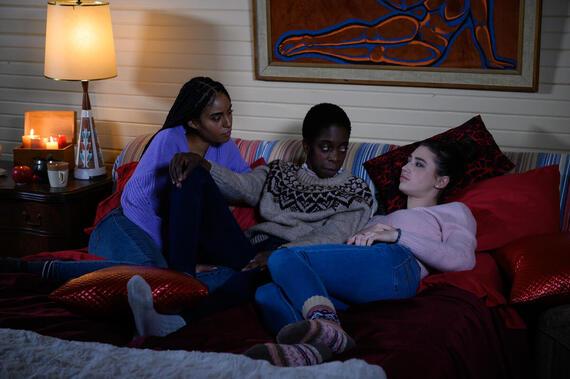 "LetterKenny -- ""Sleepover"" - Episode 906 -- Sleepover activities only; movies, board games and girl talk. Rosie (Clark Backo), Gail (Lisa Codrington), Tanis (Kaniehtiio Horn), shown. (Photo By Amanda Matlovich)"