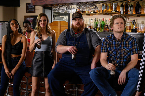 "LetterKenny -- ""NDN NRG"" - Episode 907 -- Tanis starts her own energy drink. Rosie (Clark Backo), Gail (Lisa Codrington), Katy (Michelle Mylett), Dan (K. Trevor Wilson), Daryl (Nathan Wales), shown. (Photo By Amanda Matlovich)"