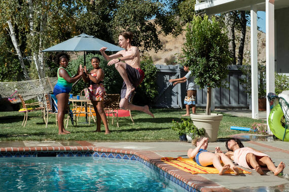 "PEN15 -- ""Pool"" - Episode 201 -- Two days after the dance, Maya and Anna reluctantly go to a lame pool party. A crush unexpectedly shows up, causing them to question their sanity and reputations. Dustin (Isaac Michael Edwards), Anna Kone (Anna Konkle), and Maya Ishii-Peters (Maya Erskine), shown. (Photo by: Lara Solanki/Hulu)"